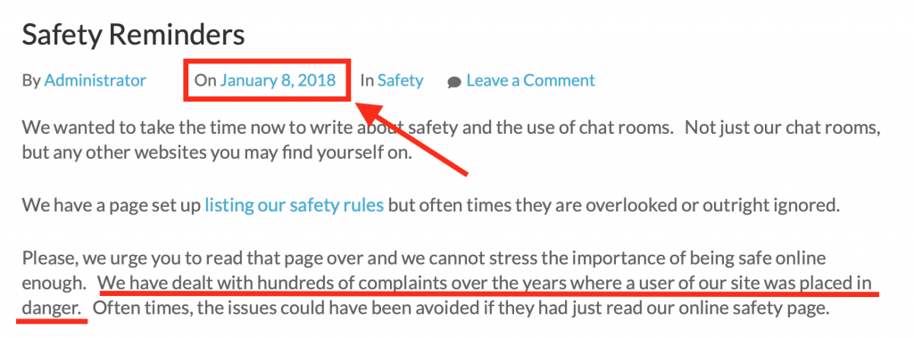 screenshot of safety blog from 2018